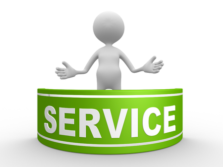 service man: 3d people - man , person with board. Service support