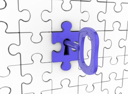 connective: 3d Jigsaw ( puzzle) and key in keyhole.
