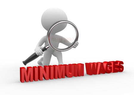 salarios: 3d gente - hombre, persona con lupa examinar salario mínimo Foto de archivo