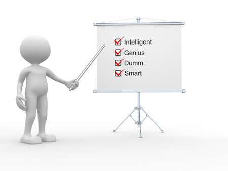 white people: 3d people - man, person and flipchart. Intelligent, genius, dumm, and smart