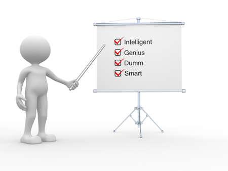 statement: 3d people - man, person and flipchart. Intelligent, genius, dumm, and smart