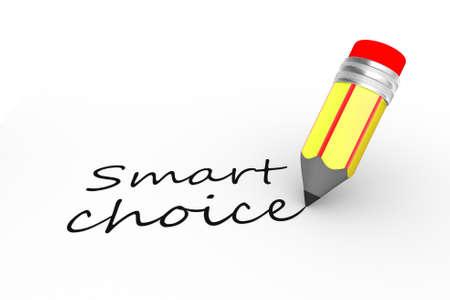logon: 3d pencil and text smart choice Stock Photo