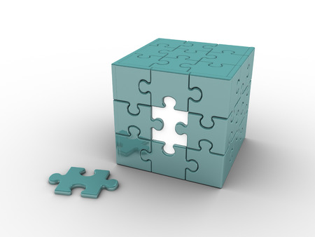 business symbols: 3d reder Cube shaped puzzle Stock Photo