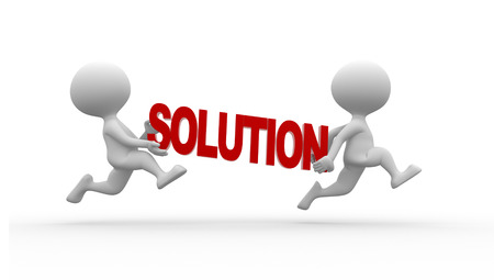 solution: 3d people - man , person running and word solution