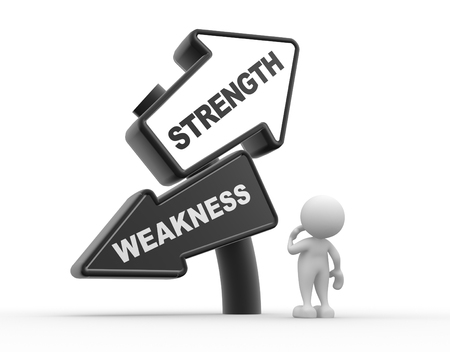 steadiness: 3d people - man , person and arrows. Strength or weakness Stock Photo