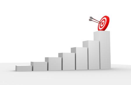3d render financial graph amd target