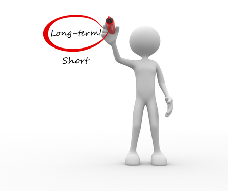 long term: 3d people - man, person with Long Term Vs Short words