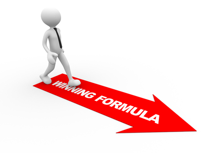 formulate: 3d people - man , person and  arrows.Winning formula