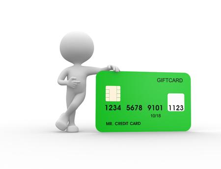 3d mensen - mens, persoon die naast een creditcard. Stockfoto