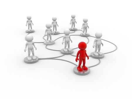 network people: 3d people- men, person arranged in a network Stock Photo