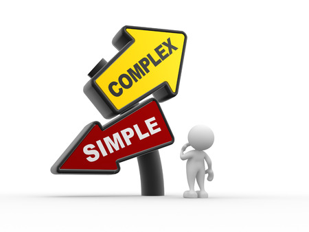 complex: 3d people - man , person and simple complex keep it easy and simplify solve difficult problems with simple solution