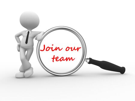 join: 3d people - man , person holding magnifying glass looking at word join our team