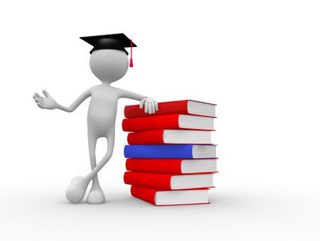onderwijs: 3d mensen - mens, persoon met afstuderen en boeken Stockfoto