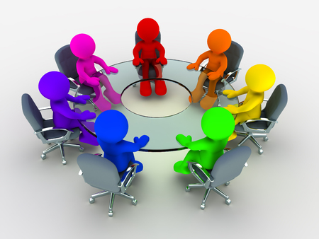 round table conference: 3d people - man , person  of different nationalities at the conference table glass