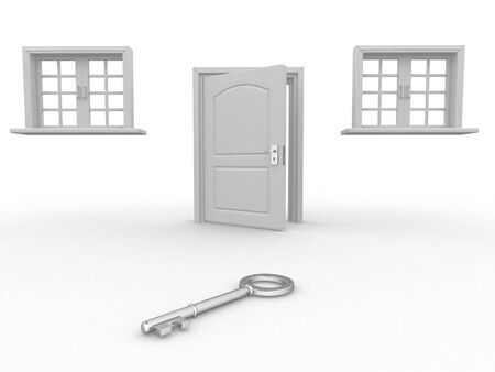 escape key: 3d render Door and windows on a white background Stock Photo
