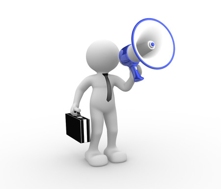 reproach: 3d people - human character , person speaking to a megaphone.