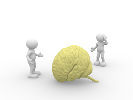 telepathy: 3d people - man, person  and yellow brain.