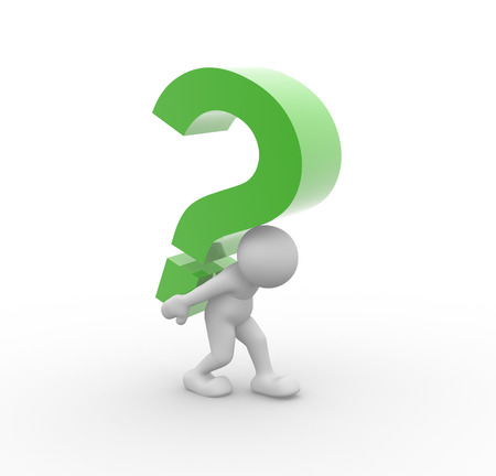 questionmark: 3d people - man, person  and  green question mark