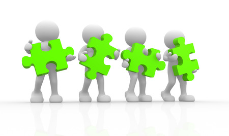 teamwork together: 3d people - human character with green puzzle