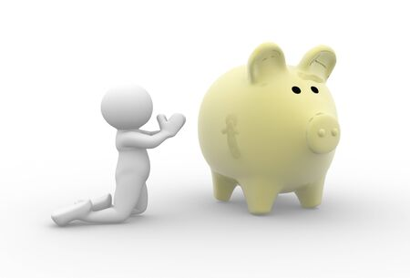 saving accounts: 3d people - man, person praying at piggy bank - bankrupt.