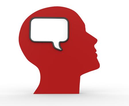 brain illustration: Human head with empty bubble . 3d render illustration