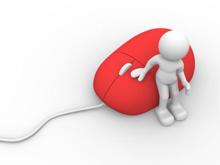 uomo rosso: 3d la gente - uomo, persona e un mouse rosso