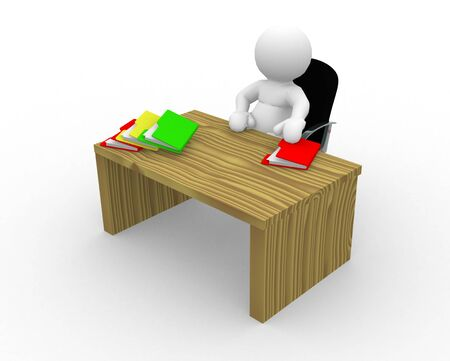 arrange: 3d people - man, person sitting at desk with folders
