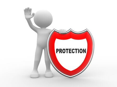small people: 3d people - man, person  and shield. Protection concept