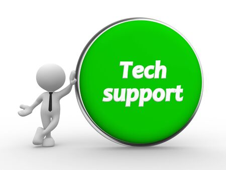 tech support: 3d people - man, person and green button. Tech support