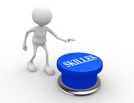 learning new skills: 3d people - man, person and blue button. SKILLES