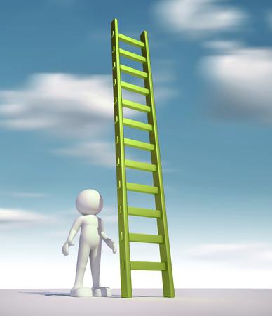 figura humana: 3d gente - hombre, persona y una escalera - escalera. Foto de archivo