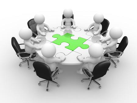 3 d の人々 - 人、ラウンド テーブルで人とパズルのピース (ジグソー パズル)。