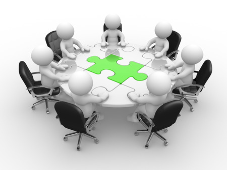 3d people - man, person at a round table and puzzle pieces ( jigsaw). Standard-Bild