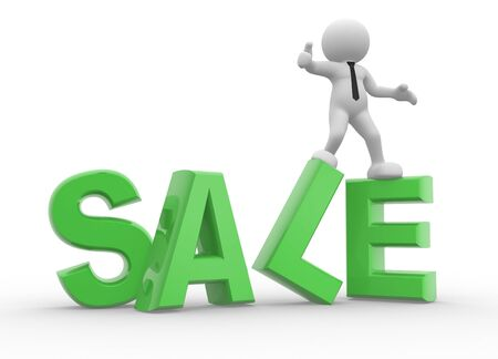 business efficiency: 3d people - man, person and word Sale.