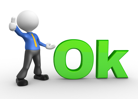 ok: 3d people - man, person with word OK