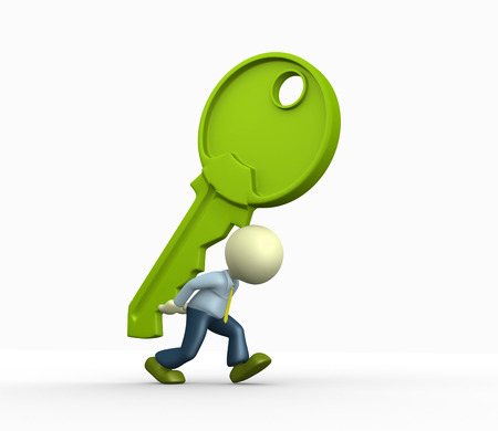 closed door: 3d people - man, person and a big key Stock Photo
