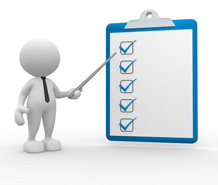 3d mensen - een man, iemand met een klembord. checklist Stockfoto