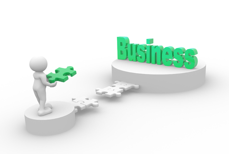 business puzzle: 3d people - man, person and pieces of puzzle. Business