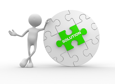 the solution: 3d people - man, person and pieces of puzzle. Solution concept