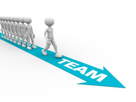 liderazgo empresarial: 3d gente - hombre, persona y la flecha. Trabajo en equipo