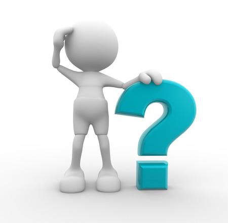 3d people - homme, personne et un point d'interrogation. Banque d'images - 50424256