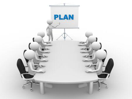 3d mensen - een man, persoon aan vergadertafel en een flip-over. Plan