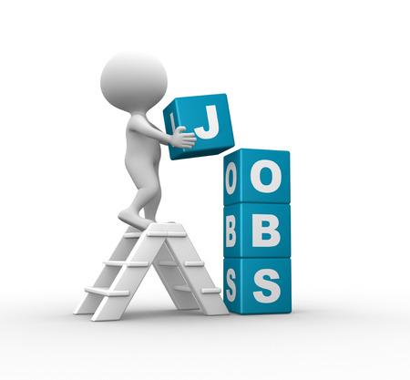 """personen: 3d mensen - man, persoon met kubussen en woord """"banen"""""""