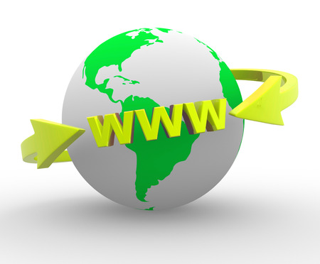 internet globe: Earth globe and  arrows. Internet World Wide Web Concept ( www). 3d render Stock Photo
