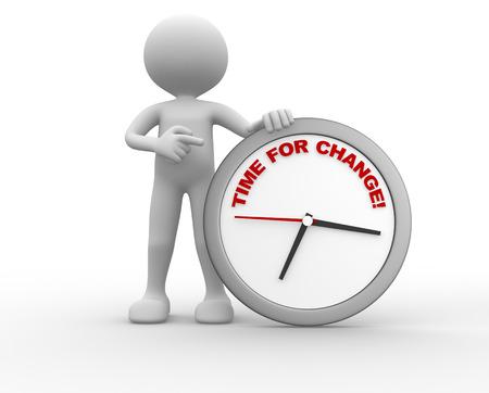 3d persoon - man en klok met woorden tijd voor verandering