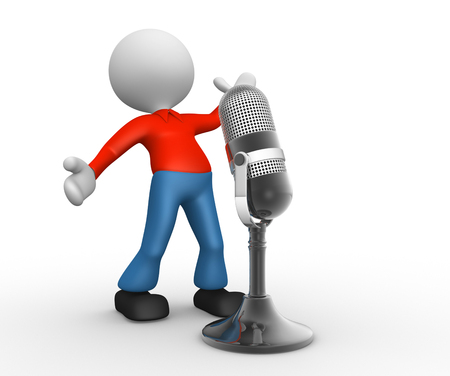 old people: 3d people - man, person with a old microphone Stock Photo