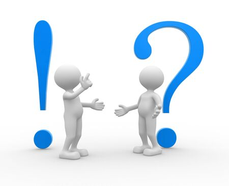 interrogative: 3d people - man, person with a exclamation mark and a question mark