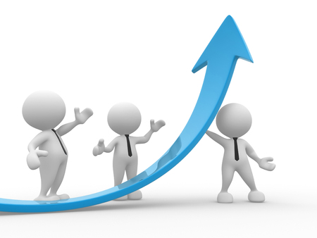 ascent: 3d people - men, person  and a graph arrow. Business partners.