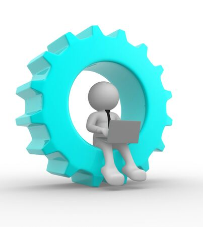 precise: 3d people - man , person with a laptop and gear mechanism Stock Photo