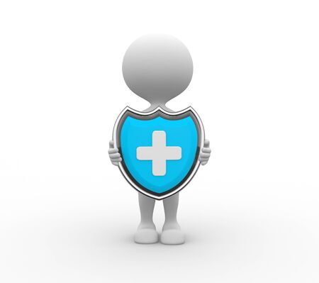 security man: 3d people - men, person and a shield. Medical Protection Stock Photo